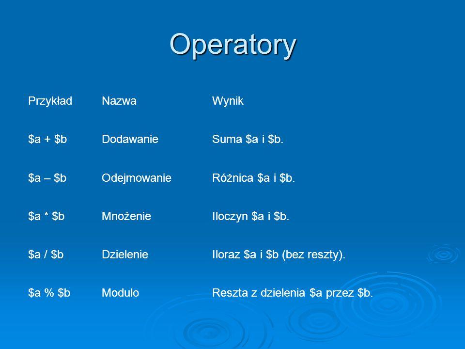 Operatory PrzykładNazwaWynik $a + $bDodawanieSuma $a i $b.