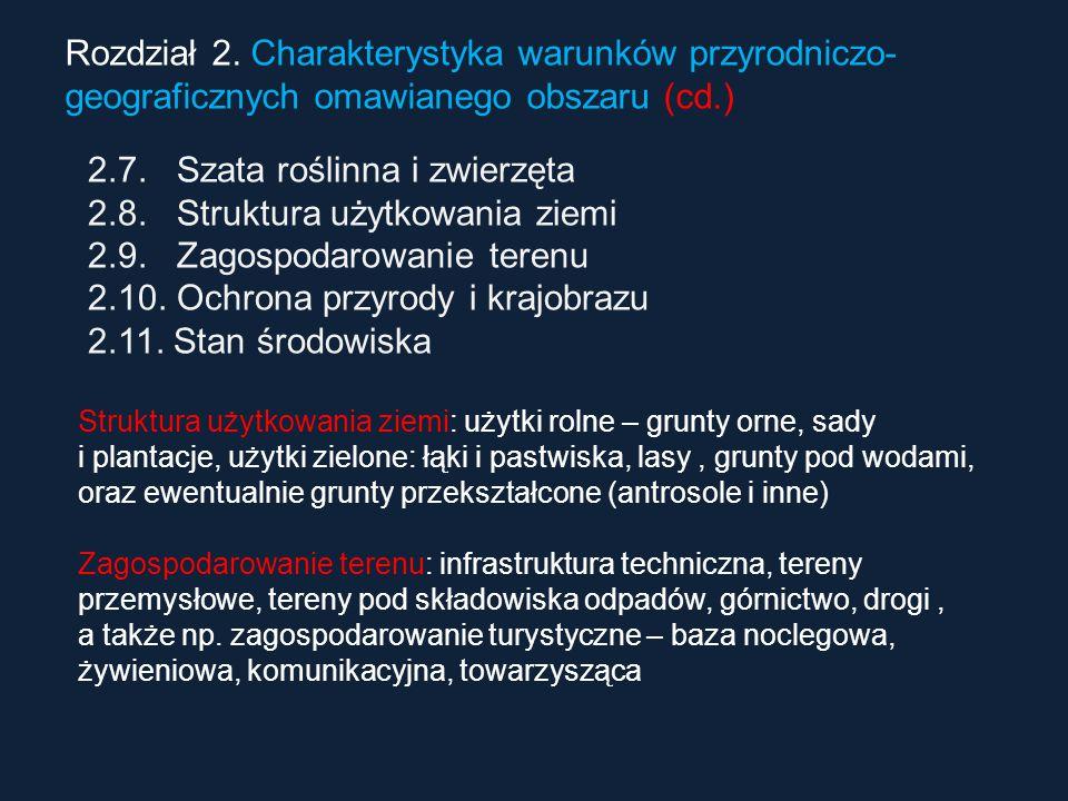 Rozdział 2. Charakterystyka warunków przyrodniczo- geograficznych omawianego obszaru (cd.) 2.7. Szata roślinna i zwierzęta 2.8. Struktura użytkowania