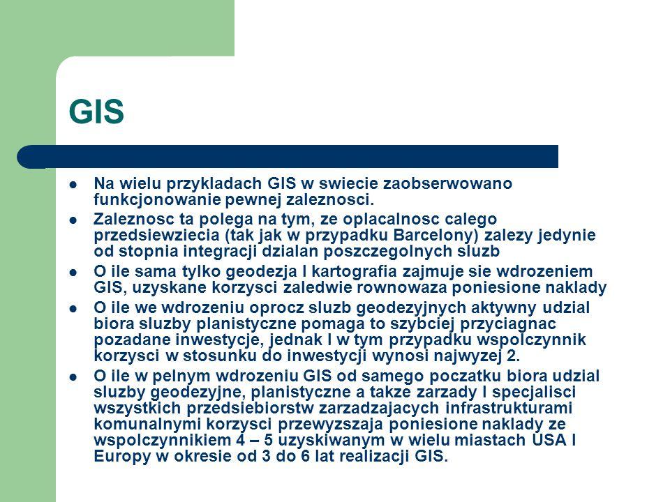 GIS Na wielu przykladach GIS w swiecie zaobserwowano funkcjonowanie pewnej zaleznosci.