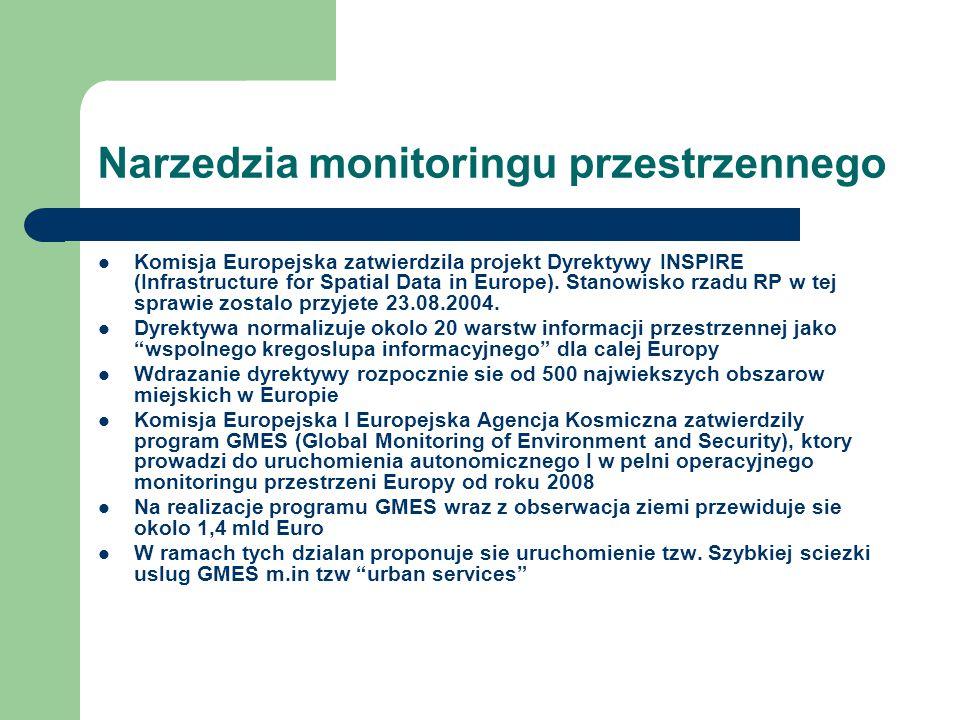 Narzedzia monitoringu przestrzennego Komisja Europejska zatwierdzila projekt Dyrektywy INSPIRE (Infrastructure for Spatial Data in Europe).