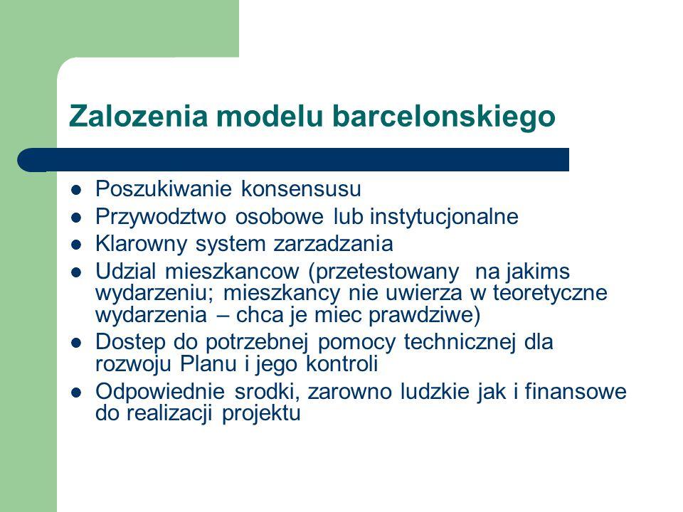 Zalozenia modelu barcelonskiego Poszukiwanie konsensusu Przywodztwo osobowe lub instytucjonalne Klarowny system zarzadzania Udzial mieszkancow (przetestowany na jakims wydarzeniu; mieszkancy nie uwierza w teoretyczne wydarzenia – chca je miec prawdziwe) Dostep do potrzebnej pomocy technicznej dla rozwoju Planu i jego kontroli Odpowiednie srodki, zarowno ludzkie jak i finansowe do realizacji projektu