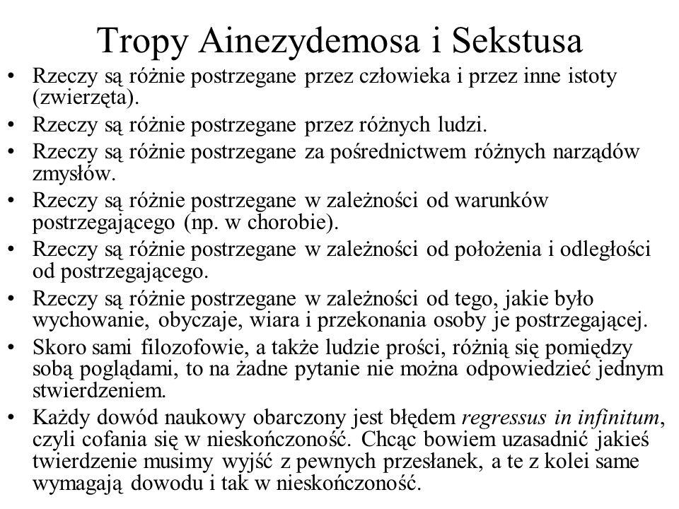 Tropy Ainezydemosa i Sekstusa Rzeczy są różnie postrzegane przez człowieka i przez inne istoty (zwierzęta). Rzeczy są różnie postrzegane przez różnych