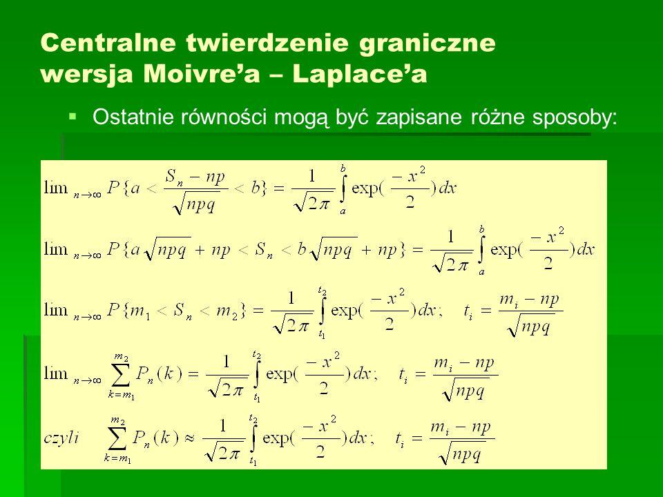 Centralne twierdzenie graniczne wersja Moivre'a – Laplace'a   Ostatnie równości mogą być zapisane różne sposoby: