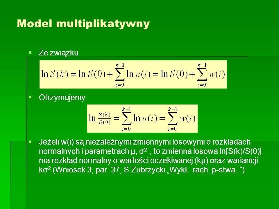 Model multiplikatywny   Ze związku   Otrzymujemy   Jeżeli w(i) są niezależnymi zmiennymi losowymi o rozkładach normalnych i parametrach μ, σ 2,
