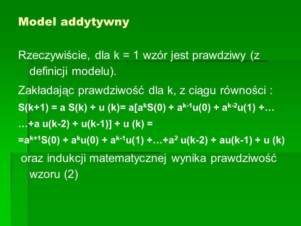 Model addytywny Rzeczywiście, dla k = 1 wzór jest prawdziwy (z definicji modelu). Zakładając prawdziwość dla k, z ciągu równości : S(k+1) = a S(k) + u