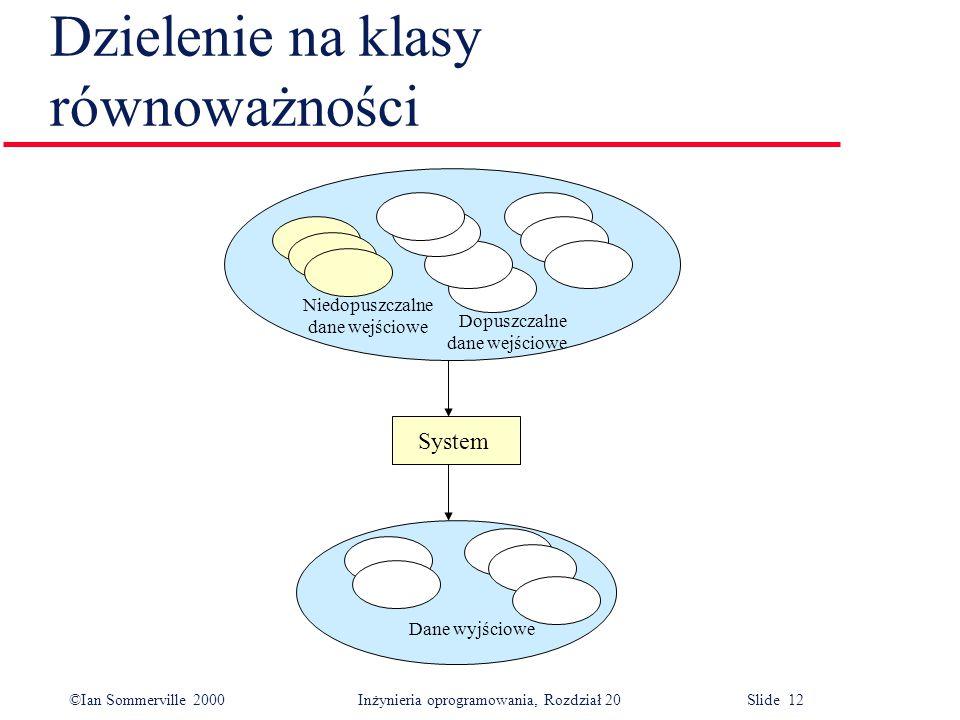 ©Ian Sommerville 2000 Inżynieria oprogramowania, Rozdział 20 Slide 12 Dzielenie na klasy równoważności System Niedopuszczalne dane wejściowe Dopuszczalne dane wejściowe Dane wyjściowe