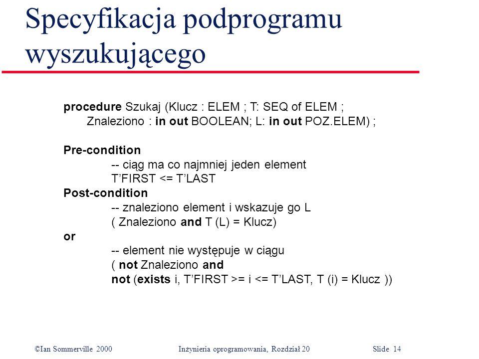 ©Ian Sommerville 2000 Inżynieria oprogramowania, Rozdział 20 Slide 14 Specyfikacja podprogramu wyszukującego procedure Szukaj (Klucz : ELEM ; T: SEQ o