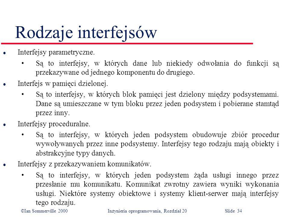 ©Ian Sommerville 2000 Inżynieria oprogramowania, Rozdział 20 Slide 34 Rodzaje interfejsów l Interfejsy parametryczne. Są to interfejsy, w których dane