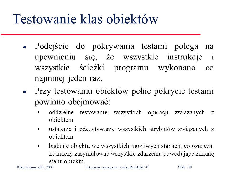 ©Ian Sommerville 2000 Inżynieria oprogramowania, Rozdział 20 Slide 38 l Podejście do pokrywania testami polega na upewnieniu się, że wszystkie instruk