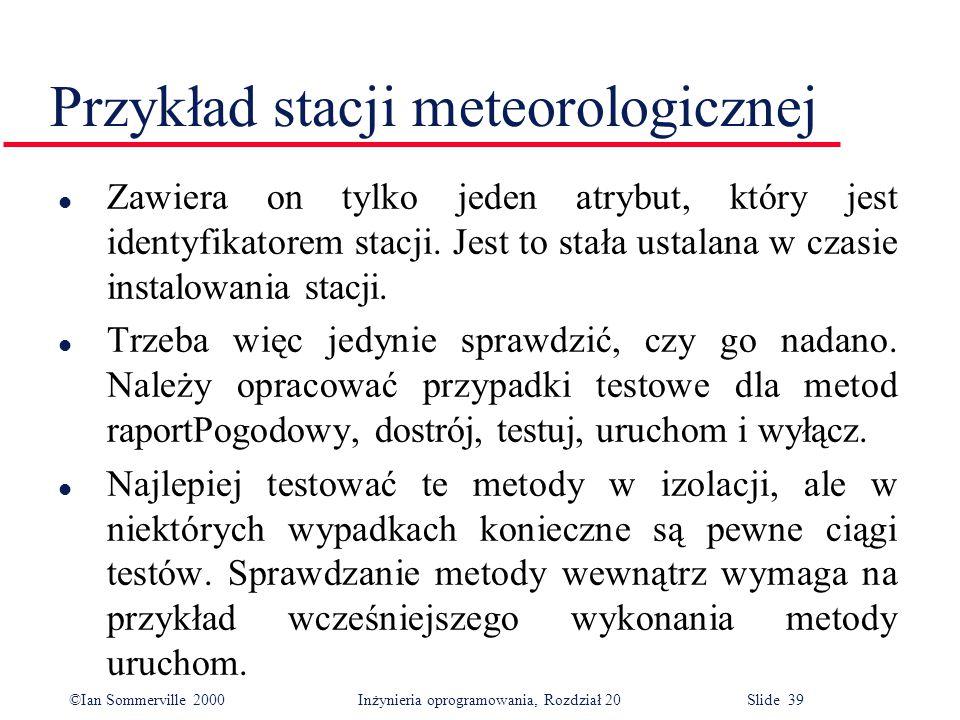 ©Ian Sommerville 2000 Inżynieria oprogramowania, Rozdział 20 Slide 39 Przykład stacji meteorologicznej l Zawiera on tylko jeden atrybut, który jest identyfikatorem stacji.