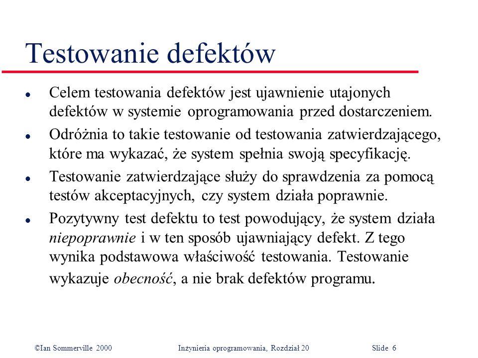 ©Ian Sommerville 2000 Inżynieria oprogramowania, Rozdział 20 Slide 17 Testowanie strukturalne Dane testowe Testowe dane wyjściowe Testowe dane wyjściowe Kod komponentu Jest podstawą oprogramowania Testuje