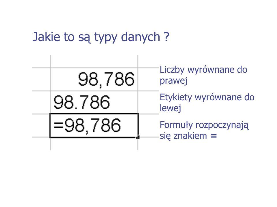 Jakie to są typy danych ? Liczby wyrównane do prawej Etykiety wyrównane do lewej Formuły rozpoczynają się znakiem =