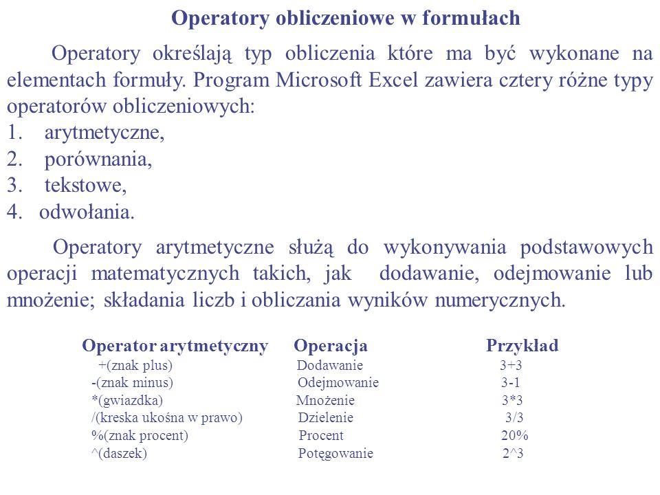 Operatory obliczeniowe w formułach Operatory określają typ obliczenia które ma być wykonane na elementach formuły. Program Microsoft Excel zawiera czt