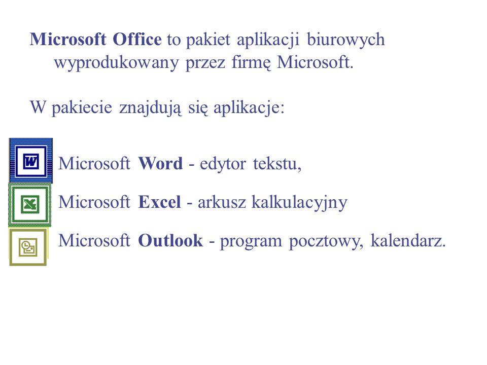 Microsoft Office to pakiet aplikacji biurowych wyprodukowany przez firmę Microsoft. W pakiecie znajdują się aplikacje: 1. Microsoft Word - edytor teks