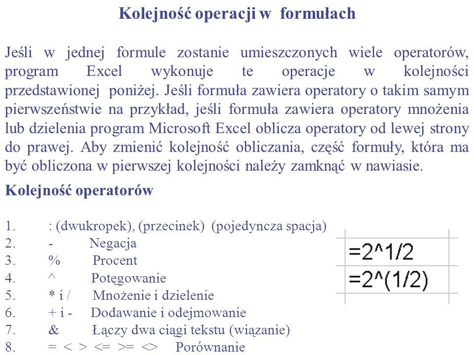Kolejność operacji w formułach Jeśli w jednej formule zostanie umieszczonych wiele operatorów, program Excel wykonuje te operacje w kolejności przedst
