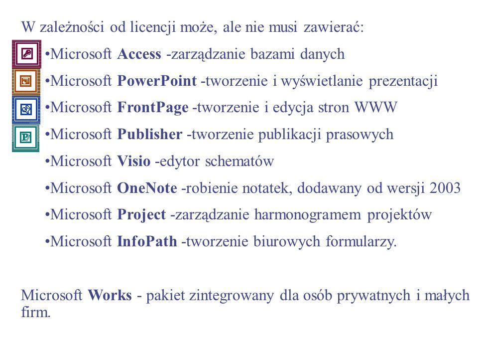 W zależności od licencji może, ale nie musi zawierać: Microsoft Access -zarządzanie bazami danych Microsoft PowerPoint -tworzenie i wyświetlanie preze