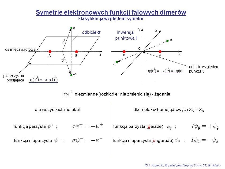 Symetrie elektronowych funkcji falowych dimerów klasyfikacja względem symetrii odbicie σ inwersja punktowa I oś międzyjądrowa płaszczyzna odbijająca n