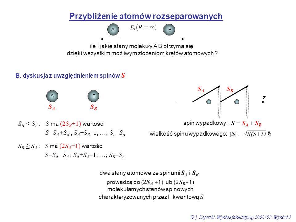 Przybliżenie atomów rozseparowanych A B ile i jakie stany molekuły A B otrzyma się dzięki wszystkim możliwym złożeniom krętów atomowych ? B. dyskusja