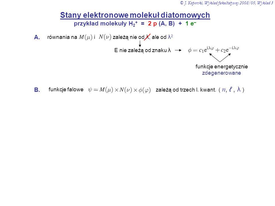 Stany elektronowe molekuł diatomowych przykład molekuły H 2 + = 2 p (A, B) + 1 e – równania na i zależą nie od λ, ale od λ 2 E nie zależą od znaku λ f