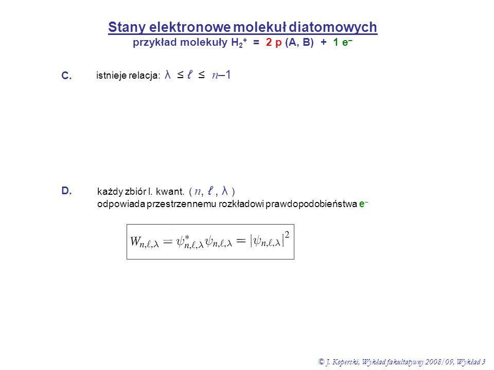 Stany elektronowe molekuł diatomowych przykład molekuły H 2 + = 2 p (A, B) + 1 e – C. istnieje relacja: λ ≤ ℓ ≤ n –1 D. każdy zbiór l. kwant. ( n, ℓ,
