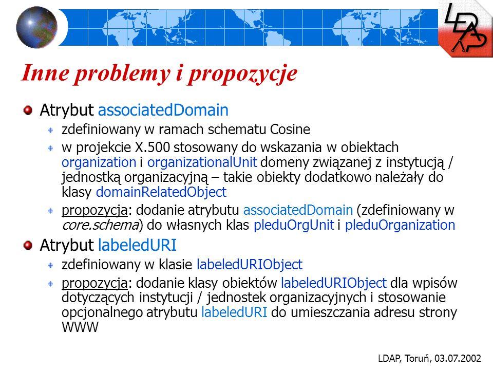 LDAP, Toruń, 03.07.2002 Inne problemy i propozycje Atrybut associatedDomain zdefiniowany w ramach schematu Cosine w projekcie X.500 stosowany do wskaz