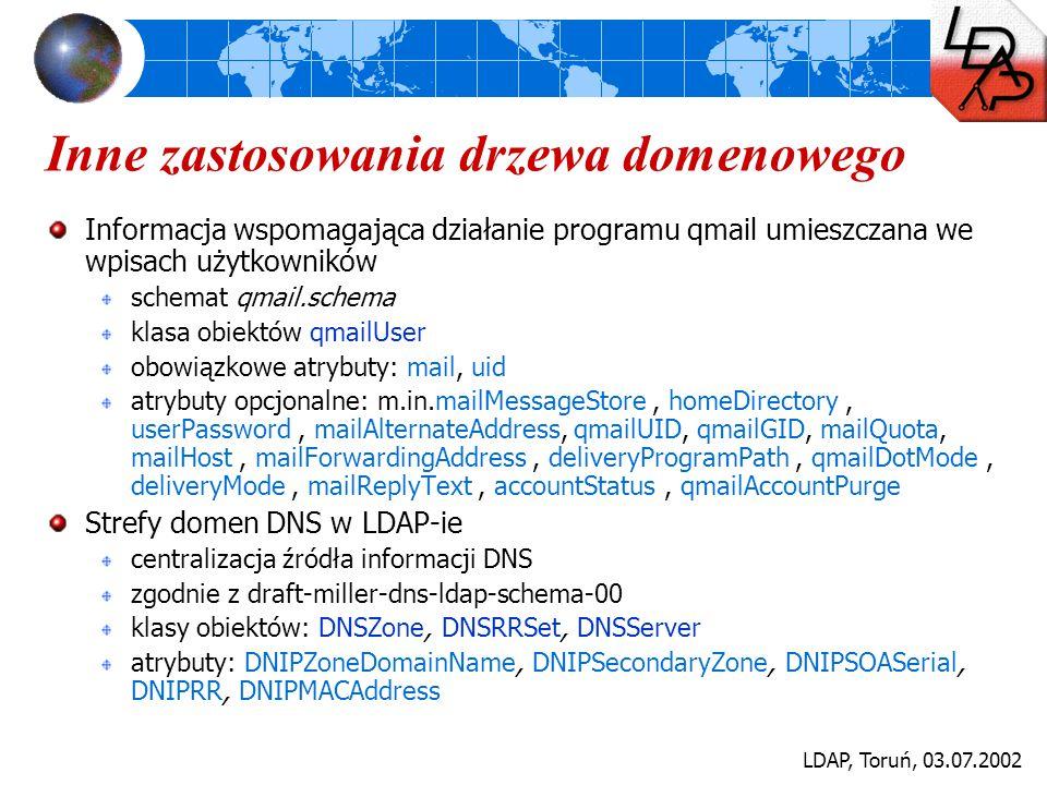 LDAP, Toruń, 03.07.2002 Inne zastosowania drzewa domenowego Informacja wspomagająca działanie programu qmail umieszczana we wpisach użytkowników schem