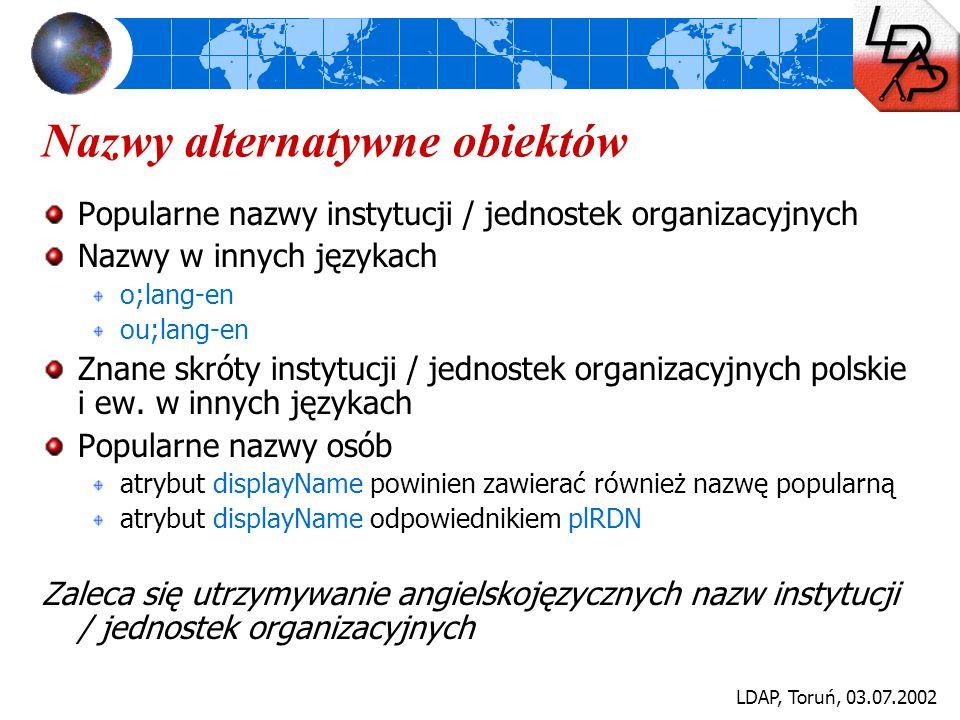 LDAP, Toruń, 03.07.2002 Nazwy alternatywne obiektów Popularne nazwy instytucji / jednostek organizacyjnych Nazwy w innych językach o;lang-en ou;lang-e