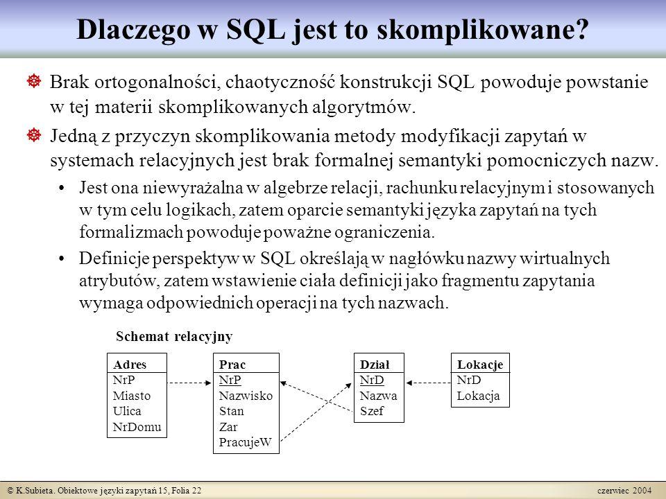 © K.Subieta. Obiektowe języki zapytań 15, Folia 22 czerwiec 2004 Dlaczego w SQL jest to skomplikowane?  Brak ortogonalności, chaotyczność konstrukcji