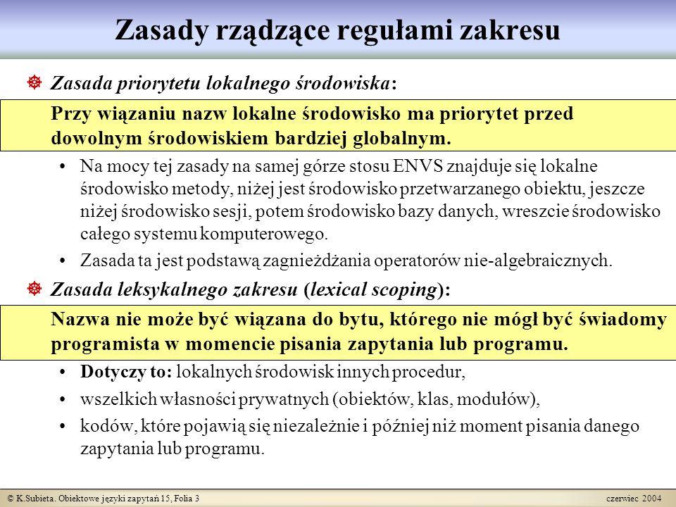 © K.Subieta. Obiektowe języki zapytań 15, Folia 3 czerwiec 2004 Zasady rządzące regułami zakresu  Zasada priorytetu lokalnego środowiska: Przy wiązan