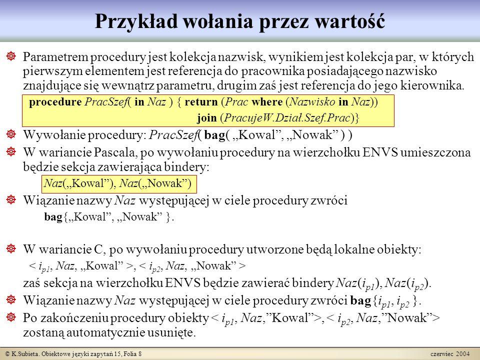 © K.Subieta. Obiektowe języki zapytań 15, Folia 8 czerwiec 2004 Przykład wołania przez wartość  Parametrem procedury jest kolekcja nazwisk, wynikiem
