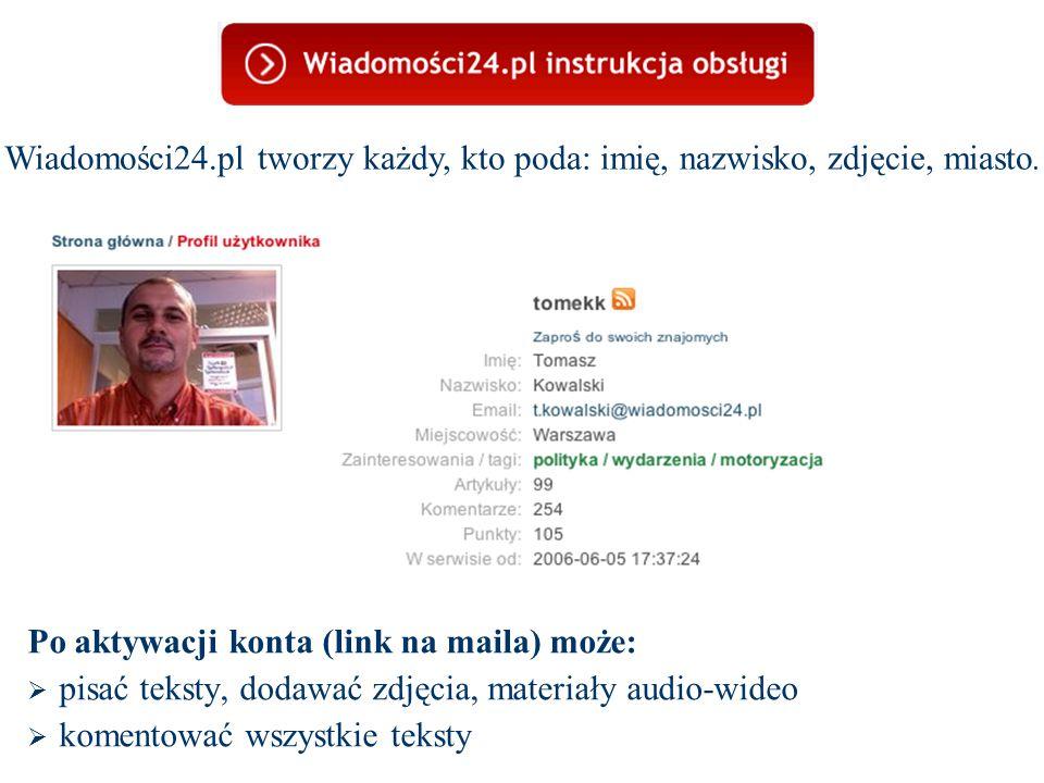 Po aktywacji konta (link na maila) może:  pisać teksty, dodawać zdjęcia, materiały audio-wideo  komentować wszystkie teksty Wiadomości24.pl tworzy każdy, kto poda: imię, nazwisko, zdjęcie, miasto.