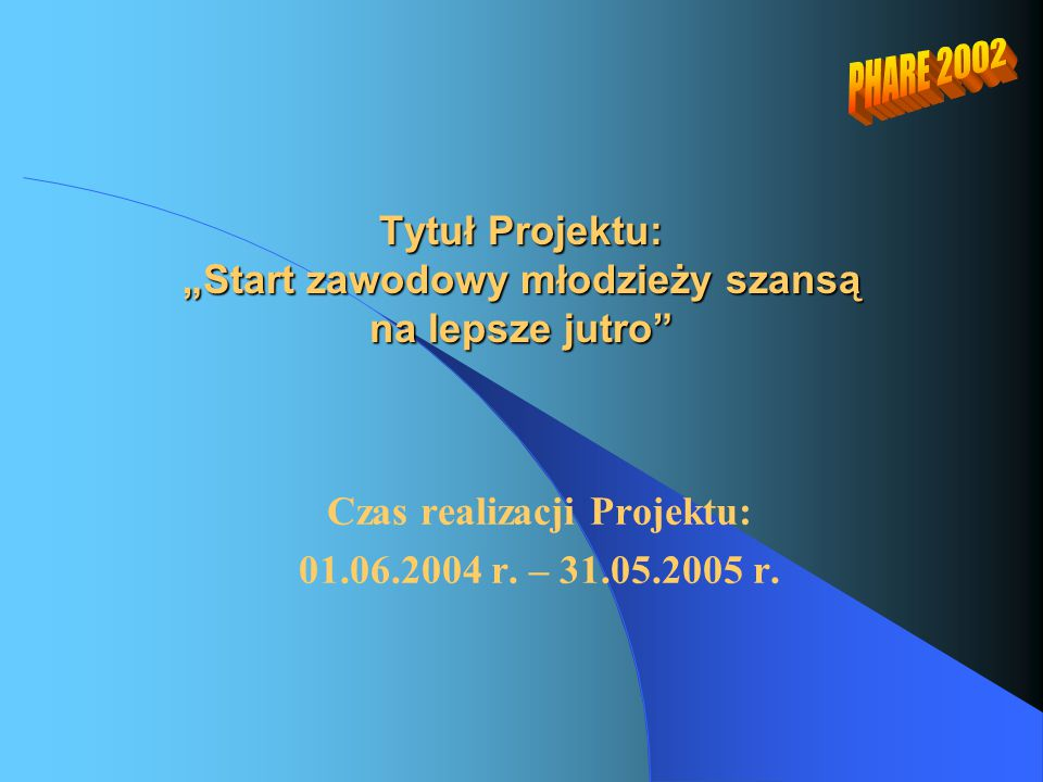 """Tytuł Projektu: """"Start zawodowy młodzieży szansą na lepsze jutro Czas realizacji Projektu: 01.06.2004 r."""