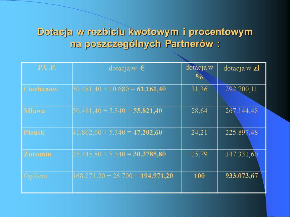 Koszty Administracyjne Pozycja 8 budżetu projektu w rozbiciu na poszczególnych Partnerów P.U.P.