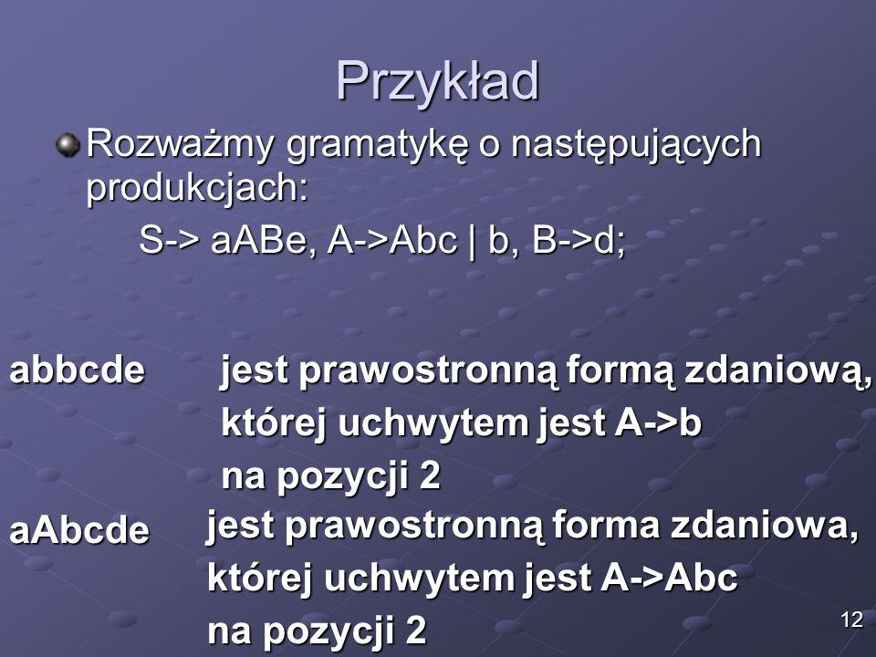 Przykład Rozważmy gramatykę o następujących produkcjach: S-> aABe, A->Abc | b, B->d; jest prawostronną formą zdaniową, której uchwytem jest A->b na pozycji 2 aAbcde abbcde jest prawostronną forma zdaniowa, której uchwytem jest A->Abc na pozycji 2 12