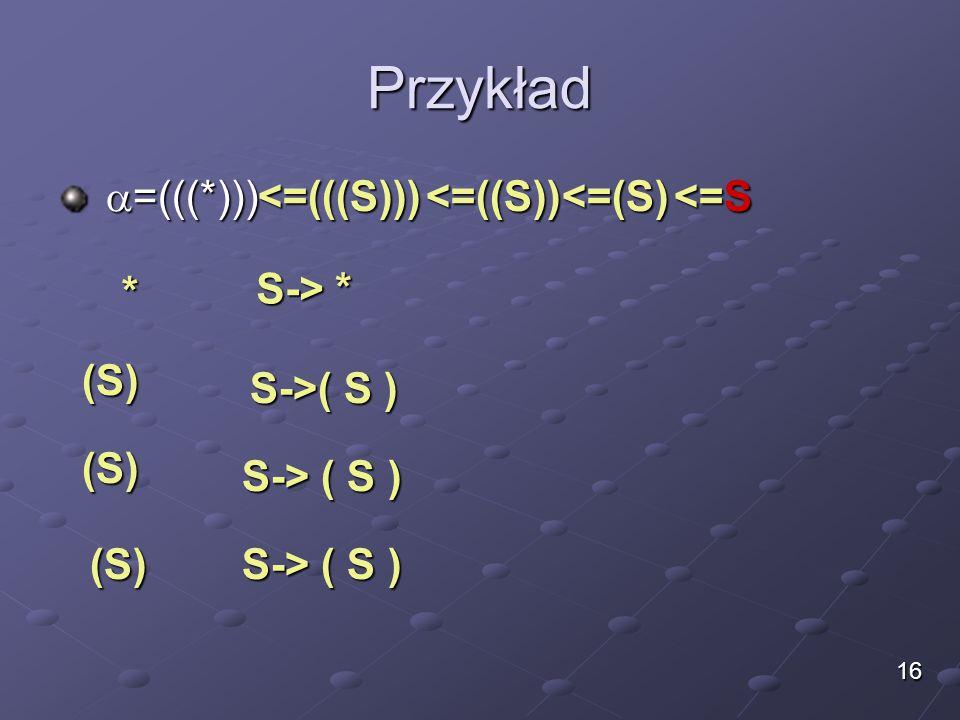 Przykład  =(((*)))  =(((*))) * S-> * <=(((S))) (S) S->( S ) (S) (S) <=((S))<=(S) <=S 16