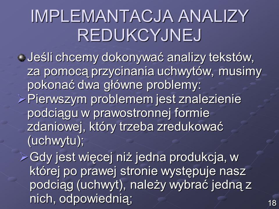 IMPLEMANTACJA ANALIZY REDUKCYJNEJ Jeśli chcemy dokonywać analizy tekstów, za pomocą przycinania uchwytów, musimy pokonać dwa główne problemy: 18  Pierwszym problemem jest znalezienie podciągu w prawostronnej formie zdaniowej, który trzeba zredukować (uchwytu);  Gdy jest więcej niż jedna produkcja, w której po prawej stronie występuje nasz podciąg (uchwyt), należy wybrać jedną z nich, odpowiednią;