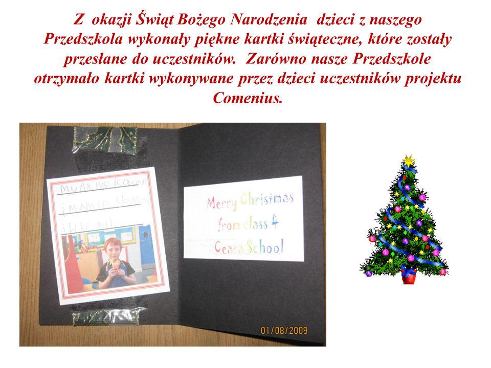 Z okazji Świąt Bożego Narodzenia dzieci z naszego Przedszkola wykonały piękne kartki świąteczne, które zostały przesłane do uczestników.