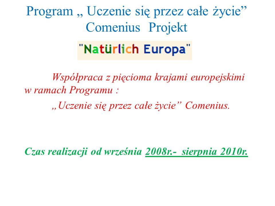 """Program """" Uczenie się przez całe życie Comenius Projekt Współpraca z pięcioma krajami europejskimi w ramach Programu : """"Uczenie się przez całe życie Comenius."""