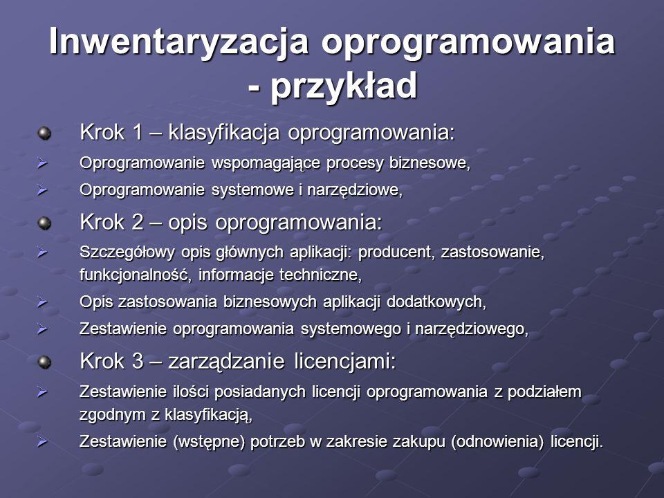 Inwentaryzacja oprogramowania - przykład Krok 1 – klasyfikacja oprogramowania:  Oprogramowanie wspomagające procesy biznesowe,  Oprogramowanie syste