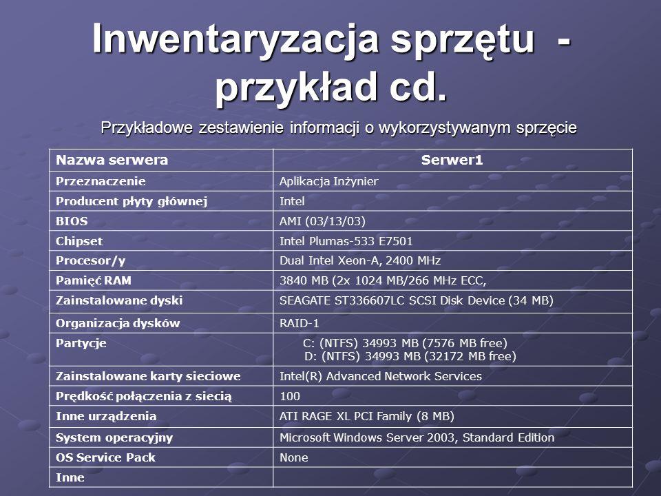 Inwentaryzacja sprzętu - przykład cd. Przykładowe zestawienie informacji o wykorzystywanym sprzęcie Nazwa serweraSerwer1 PrzeznaczenieAplikacja Inżyni