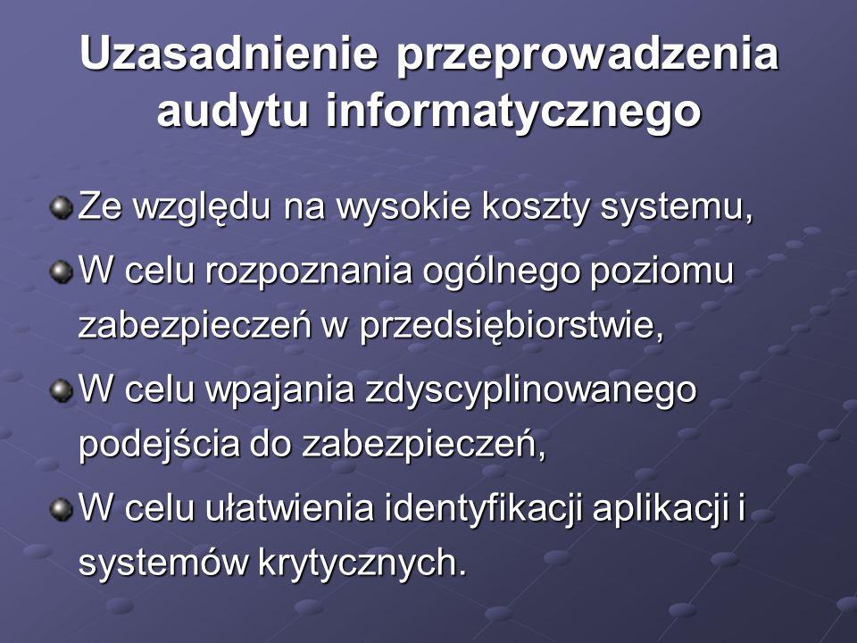 Uzasadnienie przeprowadzenia audytu informatycznego Ze względu na wysokie koszty systemu, W celu rozpoznania ogólnego poziomu zabezpieczeń w przedsięb