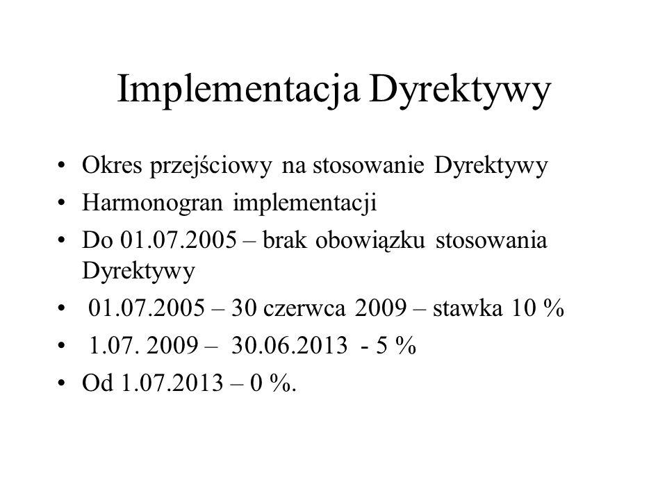Implementacja Dyrektywy Okres przejściowy na stosowanie Dyrektywy Harmonogran implementacji Do 01.07.2005 – brak obowiązku stosowania Dyrektywy 01.07.
