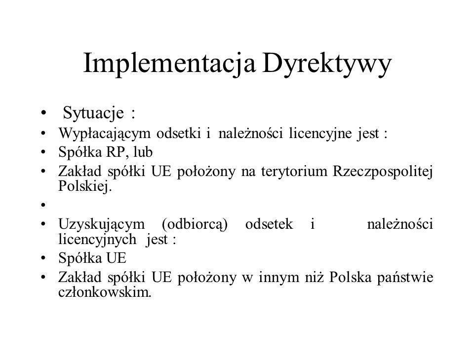 Implementacja Dyrektywy Sytuacje : Wypłacającym odsetki i należności licencyjne jest : Spółka RP, lub Zakład spółki UE położony na terytorium Rzeczpos