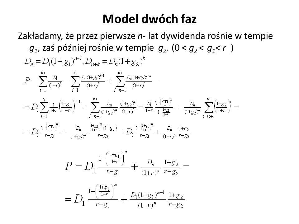 Model dwóch faz Zakładamy, że przez pierwsze n- lat dywidenda rośnie w tempie g 1, zaś później rośnie w tempie g 2. (0 < g 2 < g 1 < r )