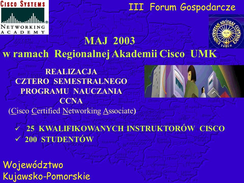 MAJ 2003 w ramach Regionalnej Akademii Cisco UMK REALIZACJA CZTERO SEMESTRALNEGO PROGRAMU NAUCZANIA CCNA (Cisco Certified Networking Associate) 25 KWA