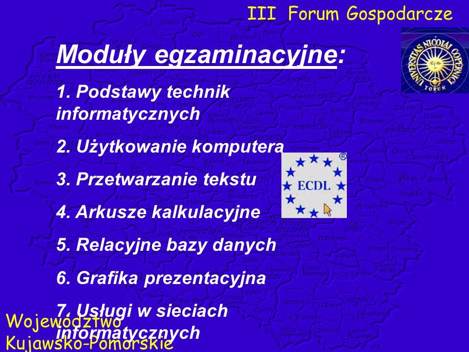 III Forum Gospodarcze Województwo Kujawsko-Pomorskie Moduły egzaminacyjne: 1. Podstawy technik informatycznych 2. Użytkowanie komputera 3. Przetwarzan