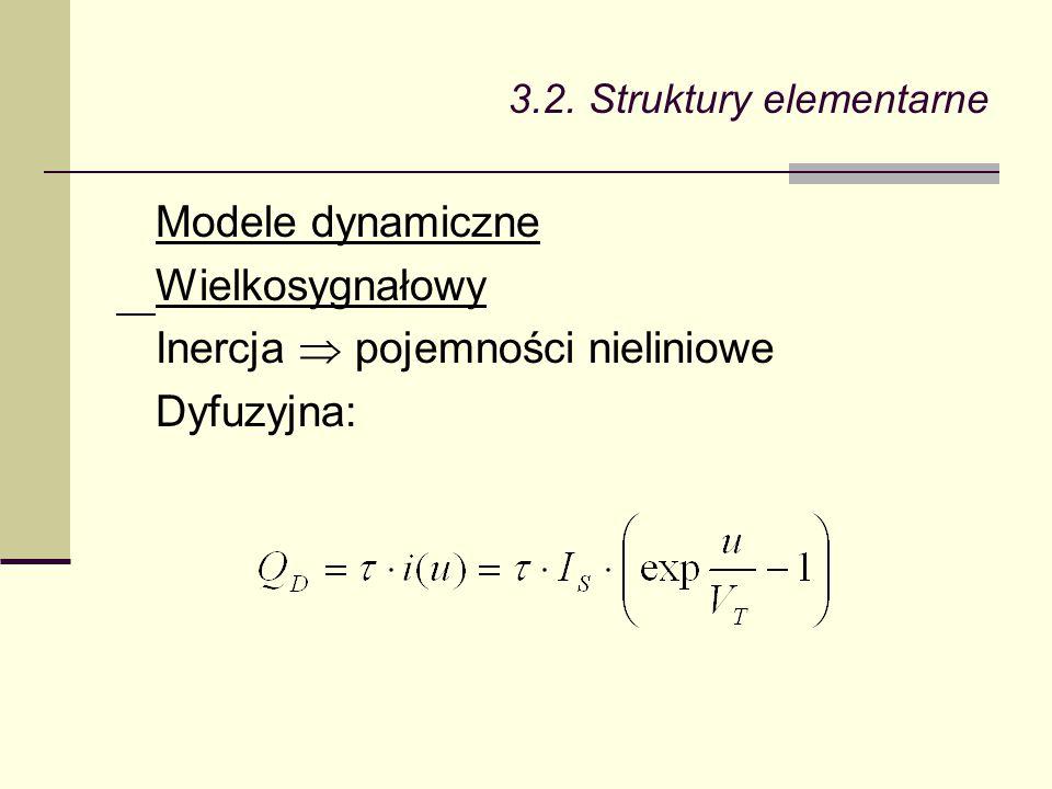 Modele dynamiczne Wielkosygnałowy Inercja  pojemności nieliniowe Dyfuzyjna:
