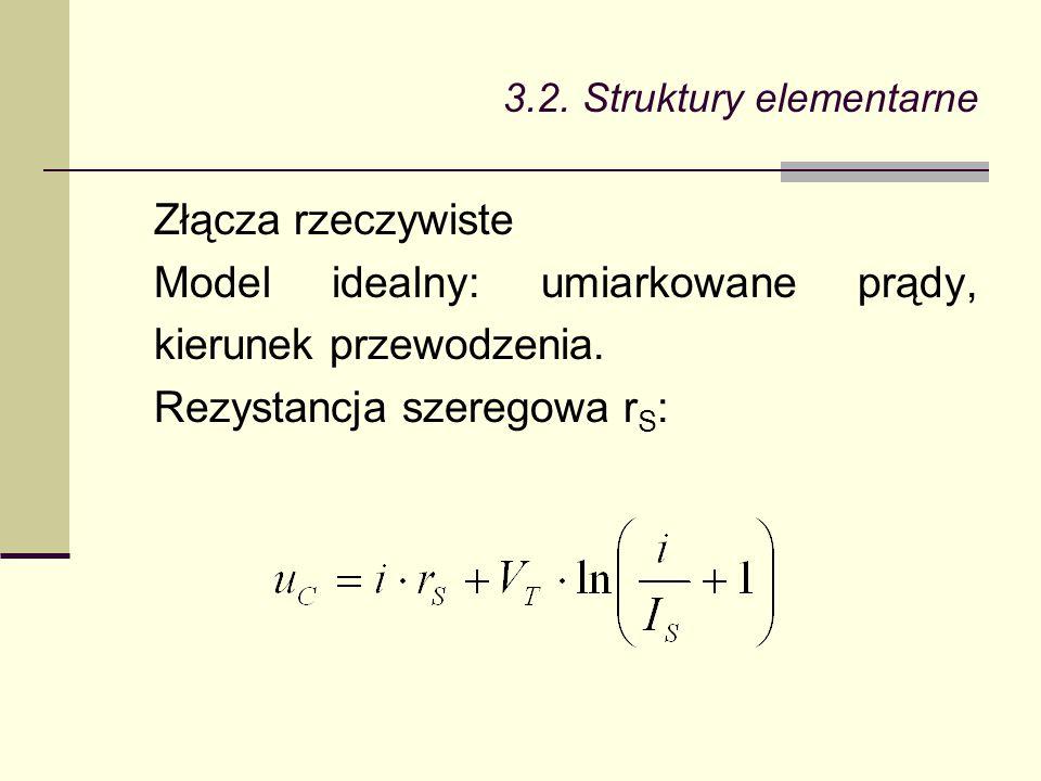 Złącza rzeczywiste Model idealny: umiarkowane prądy, kierunek przewodzenia. Rezystancja szeregowa r S :