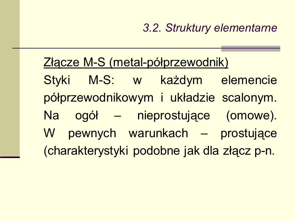 3.2. Struktury elementarne Złącze M-S (metal-półprzewodnik) Styki M-S: w każdym elemencie półprzewodnikowym i układzie scalonym. Na ogół – nieprostują