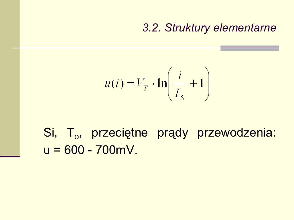 3.2. Struktury elementarne Si, T o, przeciętne prądy przewodzenia: u = 600 - 700mV.